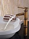 Art Deco/Retro Kärl Singel Handtag Ett hål in Antik mässing Badrum Sink kran