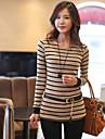 Femei guler rotund Stripe maneca lunga T-Shirt
