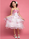 Princess Spaghetti Straps Knee-length Satin Flowers Sleeveless Flower Girl Dress