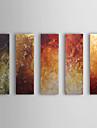 Pictat manual Abstract Orizontal,Clasic Cinci Panouri Hang-pictate pictură în ulei For Pagina de decorare