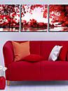 Reproduction transférée sur toile Art paysage rouge Arbres Lot de 3
