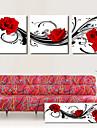 Reproduction transférée sur toile Art floral de roses rouges de danse Ensemble de 3