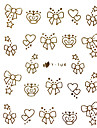 Or Metal Design Nail Art Stickers Conseils Cartoon bowknot