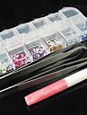 12 Color nagel konst Akryl Rhinestones Dekoration med 2 Nippers Lim (slumpvis färg)