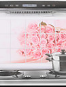 75x45cm Pink Rose Oil-Proof Vattentät Sticker Kitchen Wall