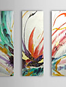 HANDMÅLAD AbstraktModerna / Traditionellt Tre paneler Kanvas Hang målad oljemålning For Hem-dekoration