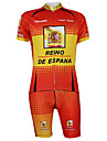 Kooplus2013 Championship Jersey Spanien Polyester & lycra & elastiskt tyg Suits Cykling (T-shirt + Bib-Pants)