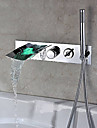 Bathtub Faucet - Contemporary - LED / Handshower Included / Waterfall - Stainless Steel (Chrome)
