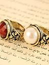 Europene și americane bijuterii de epocă Perle Faceted rotunde si pietre pretioase sculptate inele R470