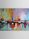 HANDMÅLAD Abstrakt Landskap Abstrakta landskap Horisontell,Moderna En panel Hang målad oljemålning For Hem-dekoration