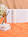 Wedding Guest Book and Pen Set With  Decorative White Silk Roses Sign In Book