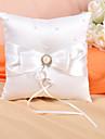 pernă inel în satin fildeș cu arcul și perle faux