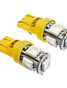 T10 5x5050SMD LED sidoljus 194 168 W5W Amber / Yellow Wedge Tail Light (12V)