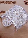 Inele Afirmatoare manşetă Ring Design Unic Iubire de Mireasă Elegant bijuterii de lux Plastic Ștras Heart Shape Argintiu Bijuterii Pentru