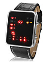 Ceas Unisex cu  LED  Display Negru din Piele PU