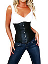 LuckyOne Women's Leather Splicing Corset Black