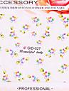 4PCS transfert de l'eau d'impression Fleurs Noctilucent Nail Stickers