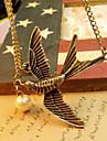 Europene și americane stil retro moda simplu de păsări sălbatice perla pulover lanț de toamna N506