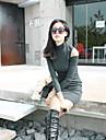 guler femei rochie mini, bumbac combină negru / gri ocazional / bodycon