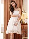 elegante Strapless de longitud de la dama de honor vestido