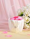 Coș de Flori de Nuntă în Nuanțe de Satin Ivoriu,Aplicații de Panglică și Ștrasuri