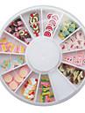12 typer fimo slice kaka serien nail art dekoration (slumpmässigt mönster)