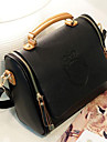 ISHE Kvinnors vintagetrycket PU Tote / Crossbody Bag (Black)