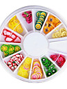 12 Färger 3D Fimo skiva frukt Nail Art Dekoration
