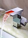 Robinet de salle de bain Sprinkle®  ,  Moderne  with  Chrome 1 poignée 1 trou  ,  Fonctionnalité  for Lumineux LED / Jet pluie / Centerset