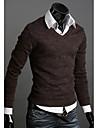 DAYD Brittisk stil Vintage Slim Bomull Kintted Shirt (kaffe)