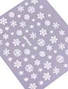 4PCS 3D färgrik Vit Nail Art Stickers Snow Series