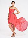 Short / Mini / Asymmetrical Chiffon Bridesmaid Dress A-line / Princess Strapless / Sweetheart Plus Size / Petite withDraping / Criss