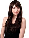 Capless Long Synthetic Brown vågigt hår Wig Side Bang