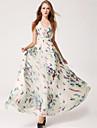 simplitate fluture rochie sifon imprimare maxi femei