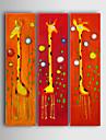 Peint à la main Bande dessinée / Animal Trois Panneaux Toile Peinture à l'huile Hang-peint For Décoration d'intérieur
