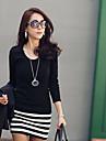 Femei Stripes Îmbinare Bodycon rochie mini (colier nu va include)