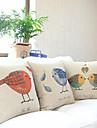 Set av 3 Land Lovely Birds Bomull / Lin dekorationskudde Cover