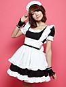 söt flicka polyester maid kostym (4 st)