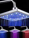 Chrome Finish rectangulare 3 culori LED-uri cap de duș