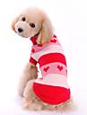 Hundar Tröjor Röd Hundkläder Vinter Vår/Höst Hjärtan Gulligt