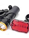 3-Mode LED Bike Head Light + 7-Mode 5 LED Tail Red Light avec le mont (3xAAA)