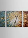 HANDMÅLAD Blommig/BotaniskParfymerad Tre paneler Kanvas Hang målad oljemålning For Hem-dekoration