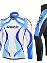SANTIC® Cykeltröja och tights Herr Lång ärm Cykel Andningsfunktion Håller värmen Vindtät Bärbar Klädesset/KostymerSpandex 100% Polyester