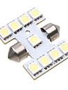 9 5050 SMD LED 31mm Car Interior Dome Festoon Vit lampa ljus