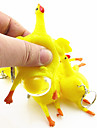Mini kramade om Egg Hen Gummi Toy Stress-Reliever Practical Joke (9x6x6cm, 1st)
