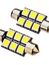 2 st GIRLAND 1W 36mm 6x5050SMD 70-90lm 6000K Cool White Light LED Bulb (12V)