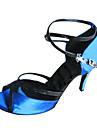 Chaussures de danse(Bleu) -Personnalisables-Talon Personnalisé-Satin-Latine Salon