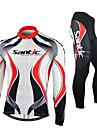 SANTIC® Maillot et Cuissard Long de Cyclisme Homme Manches longues VéloRespirable / Garder au chaud / Pare-vent / Design Anatomique /