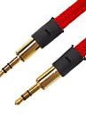 3.5mm Male către Male Cablu audio plat de tip Fabric Red (1,5 M)