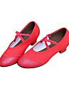 Chaussures de danse (Noir/Rouge) - Non personnalisable - Gros talon - Cuir/Toile - Ballet